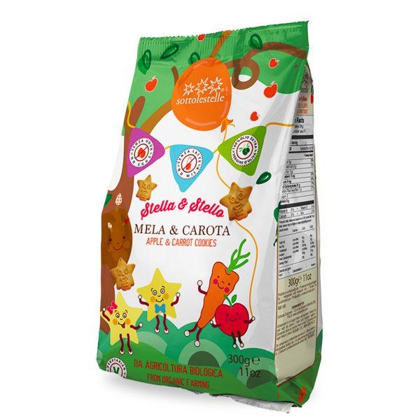 Stella&Stello con mela e carota Marca: no Biscotti graziosi che raffigurano due personaggi: Stella e Stello due stelline simpatiche, ognuna con un'espressione diversa. Realizzati con olio extravergine di oliva e resi nutrienti dalla purea di mela e dalle carota. La colazione sarà un momento divertente dove adulti e bambini gusteranno questi biscotti unici nella forma e nelgusto. Un modo nuovo per offrire ai piccoli frutta e verdura.